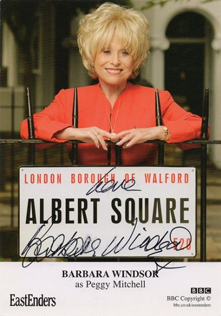 Barbara Windsor, Eastenders, signed 6x4 inch cast card.